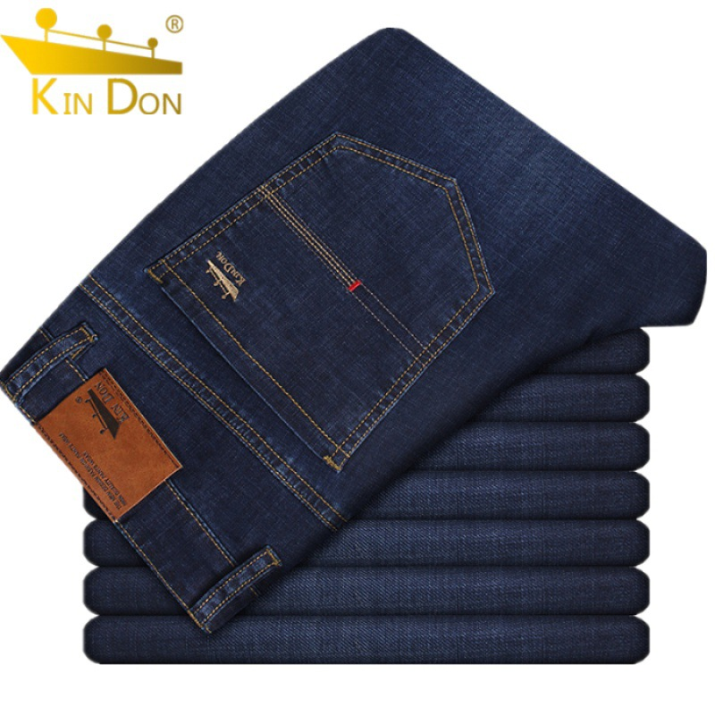 Kin Don Blue Spring And Summer Thin Slim Fit Jeans Business Casual Stretch Trousers Loose-Fit High-waisted Men Straight-leg Pant