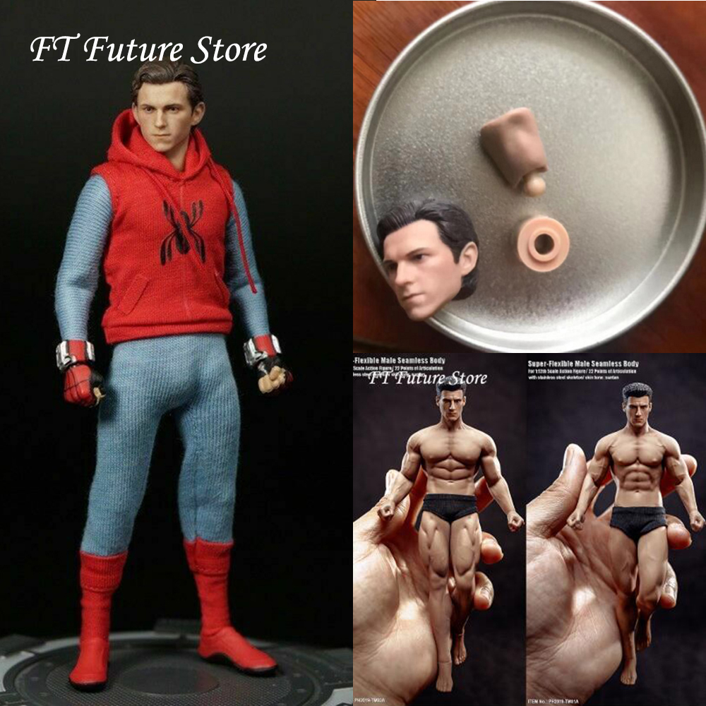 In Stock 1/12 Spider-man Tom Holland Peter Parker Head Sculpt Carved Model For 6'' Male Body Accessory