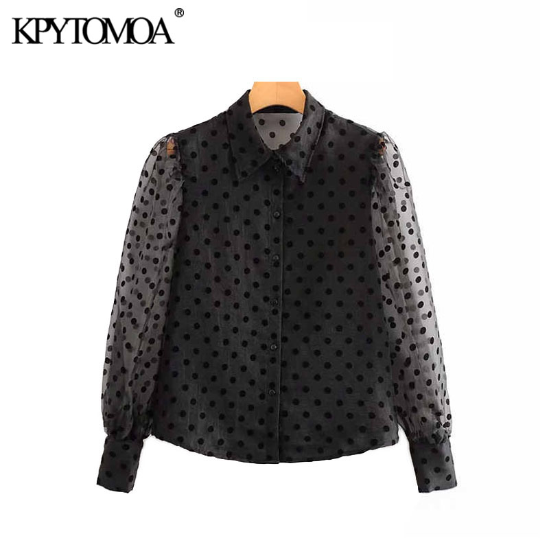 KPYTOMOA Women 2020 Sexy Fashion Transparent Polka Dot Blouses Vintage Lapel Collar Long Sleeve Female Shirts Blusas Chic Tops