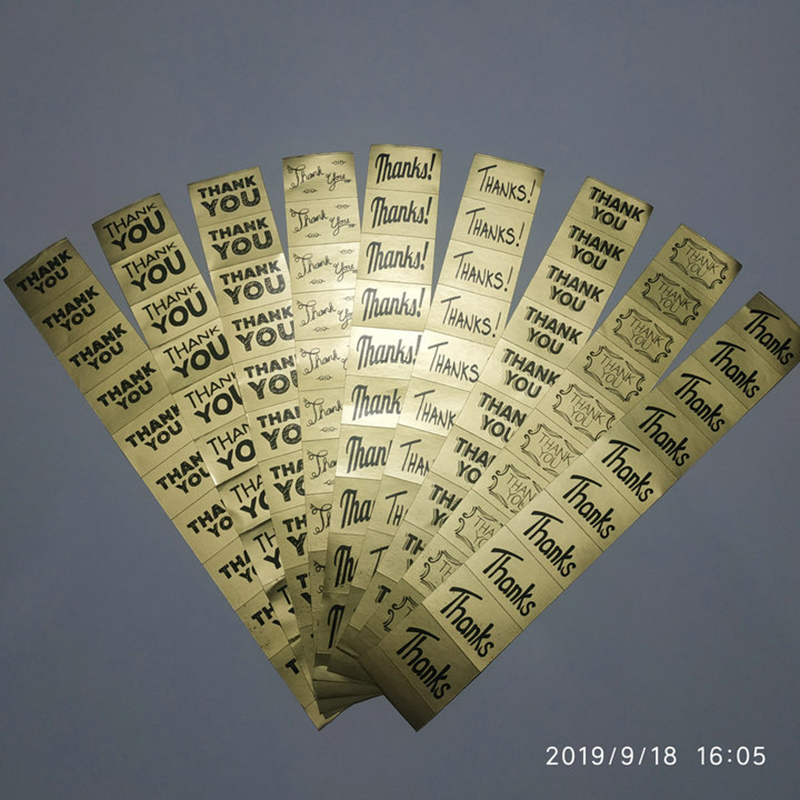 500PCS/Lot  Gold Sticker Thank you/Thanks/Thk Gift DIY Handmade Wedding/Party/Jewellry Box Packing Accessories Sealing Mark