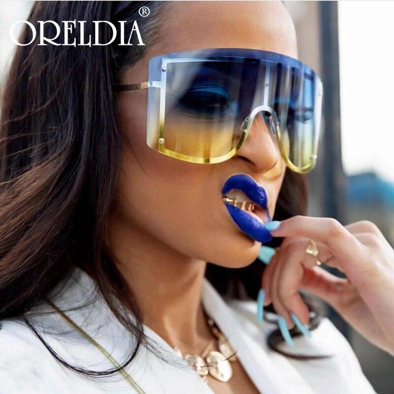 Oversized Women Blue Yellow Gradient Sunglasses Fashion Rimless Metal Female Shades Luxury Brand Designer Personality Eyewear 2