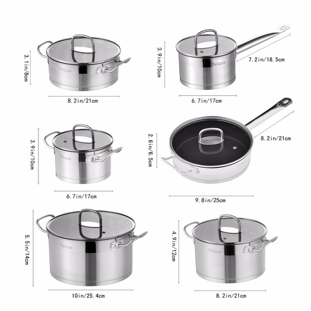 Velaze Cookware Set 12 Piece Stainless Steel Kitchen Cooking Pot&Pan Sets, Induction,Saucepan,Casserole,with Tempered Glass lid 4