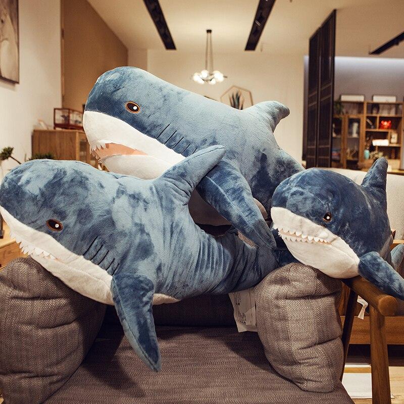 Big Shark Plush Toy Stuffed Animal Popular Sleeping Pillow Russia Shark Doll Soft Baby Pillow Plush Shark Cushion Birthday Gift