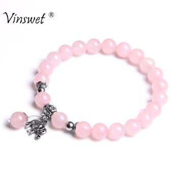 Design de moda boho charme pulseiras feminino rosa natural quartzs contas pulseira para homens elefante coruja pingente pulseira feminino jóias