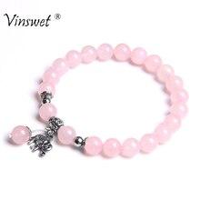 Fashion Design Boho Charm Bracelets Women Natural Rose Quartzs Beads Bangle For Men Elephant Owl Pendant Bracelet Women Jewelry