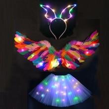 Costume Tutu-Skirt Led-Light Ear-Hairband Party Led Birthday-Gift Wedding-Neon Glow Angel-Head-Wear