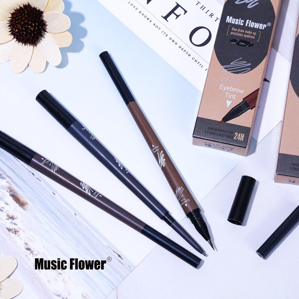 Music Flower Makeup Dual-ended Eyebrow Pencil + Liquid Eye Brow Pen Natural Waterproof Long Lasting Eyebrow Enhancers 3 Colors
