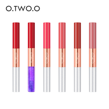 O dos O.O 6 unids/set 2 en 1 mate y de labios reluciente brillo de tinte de labios humectante larga duración impermeable líquido lápiz labial Kit de maquillaje