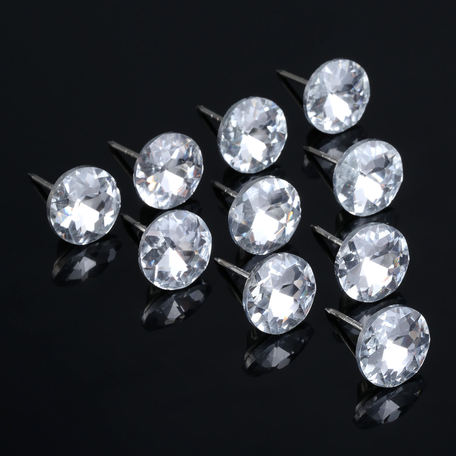 10Pcs 14/16/18/22mm Diamond Crystal Upholstery Nails Buttons Tacks Studs Pins Sofa Wall Decoration Furniture Accessory