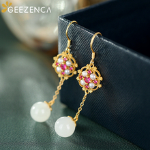 Trendy Vintage 925 Sterling Silver White Jade Bead Shell Pearl Drop Earrings Fine Jewelry For Women Long Dangle Earring Party