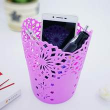 New Office Organizer Desktop Hollow Cylinder Pen Storage Box Pencil Brush Pot Pen Holder Makeup Brush Plastic Container Home(China)