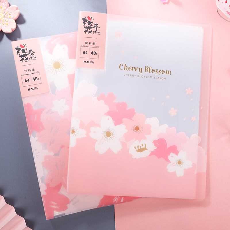 M&G A4 Kawaii Cherry Blossom Pink Display Book 40 Sheets Clear Book File Folder Document Storage For Office Supplies School Page