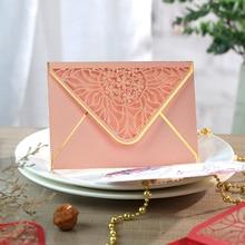 15 sztuk/partia luksusowe wytłaczanie na gorąco koperty Hollow zaproszenia koperty na imprezę, ślub, biznes, działalność otwarcia 175mm X 125mm