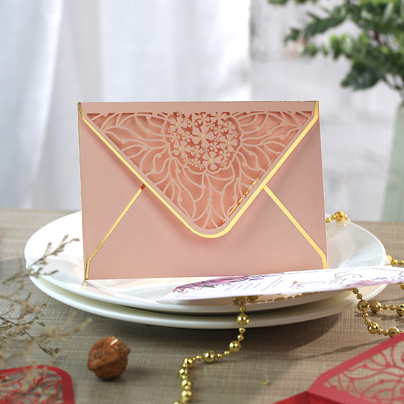 15pcs/lot Luxury Hot Stamping Envelopes Hollow Invitation Envelopes For Party, Wedding, Business, Opening Activity 175mm X 125mm