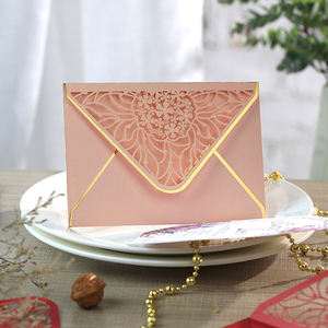 Image 1 - 15pcs/lot Luxury Hot Stamping Envelopes Hollow Invitation Envelopes for Party, Wedding, Business, Opening Activity 175mm X 125mm