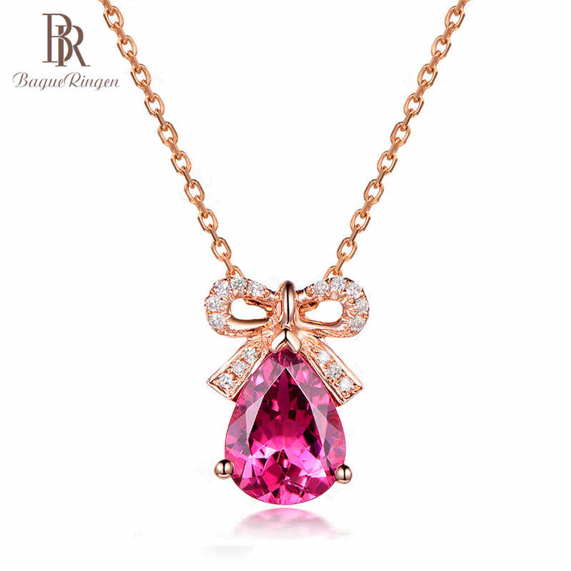 Bague Ringen Silver 925 Jewelry Necklace For Women Zircon Rose Colored New Sweet Fashion Butterfly Knot Ruby Gift Weddings