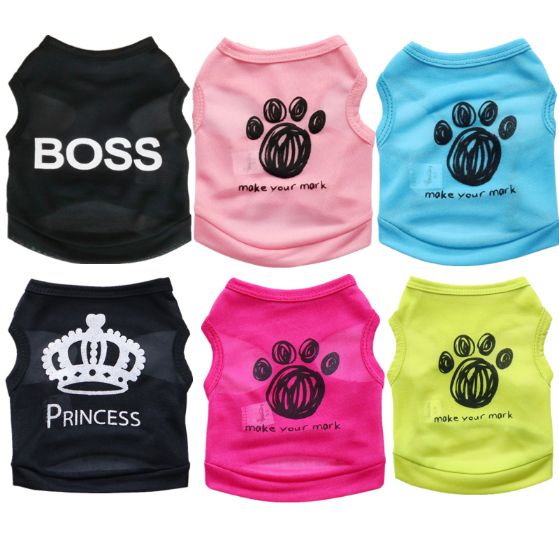 New Paw Print Dog Clothes Black Elastic Vest Puppy T-Shirt Coat Accessories Apparel Costumes Pet Clothes for Dogs Cats