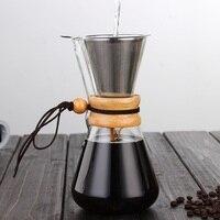 Servidor de vidro resistente ao calor do potenciômetro de café 400ml/600ml com filtro de aço inoxidável reusável despeje sobre o potenciômetro do gotejamento do café da máquina de café|Cafeteiras|   -