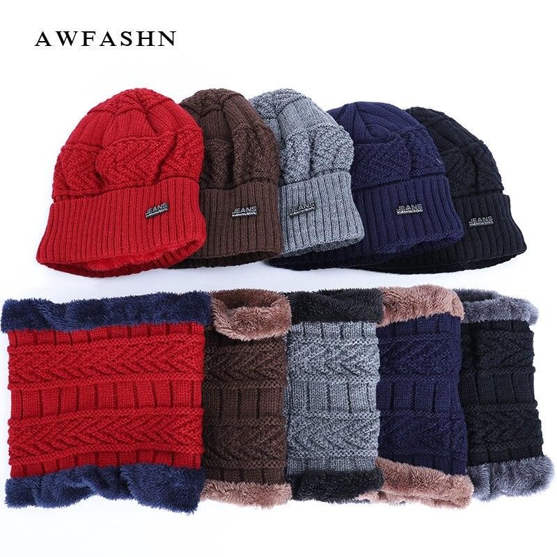 2019 Winter Brand Men's Knit Hat Scarf Sets Men / Women Plus Velvet Thick Beanies Hat Warm Soft Cap Balaclava Neck Warmer Bonnet