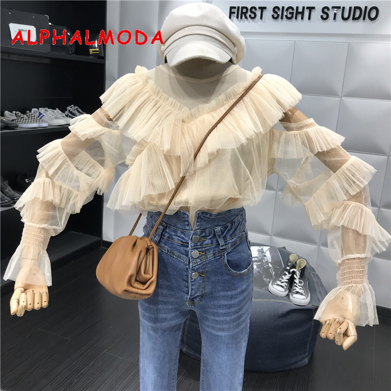 ALPHALMODA Long-sleeved Perspective Sexy Women Autumn Blouses V-collar Ruffled Sleeved Ladies Fashion Chiffon Outfit Shirt