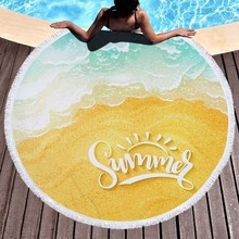 2019 150CM Round Beach Towel Coconut Trees Printed Circle Bohemia Bath Towels Shower Mat Thick