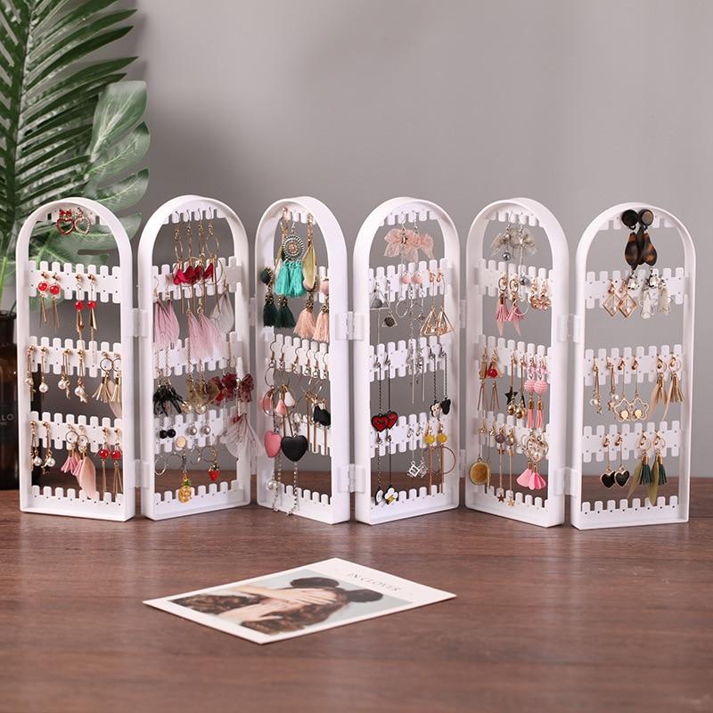 180/240 Hole Jewelry Storage Box Organizer Jewelry Display Stand Earrings Necklace Jewelry Cabinet Foldable Transparent Box