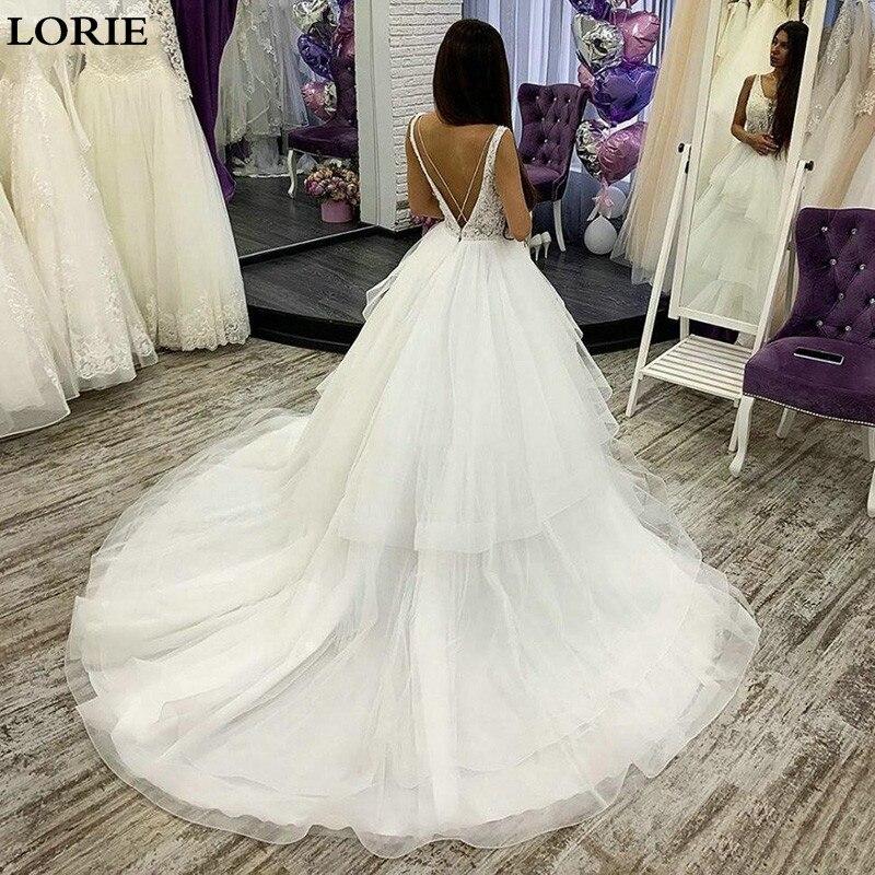 LORIE Princess Wedding Dress Appliqued Lace Backless Bride Gowns Vestidos De Novia Custom Made