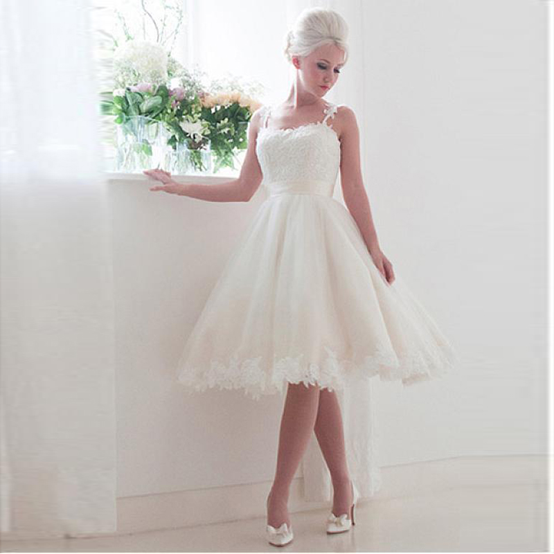 Ivory Hot Sale Short Wedding Gowns Plus Size Knee Length Spaghetti Sexy Low Back Woman Party Bridal Dresses Robe De Mariage