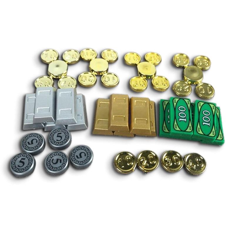 50 Pçs/set MOC Acessórios Peças de Tijolos Pintado Barras de Ouro de Prata Lingotes Moedas Bullion Modelo Blocos de Construção DIY Brinquedos para Crianças
