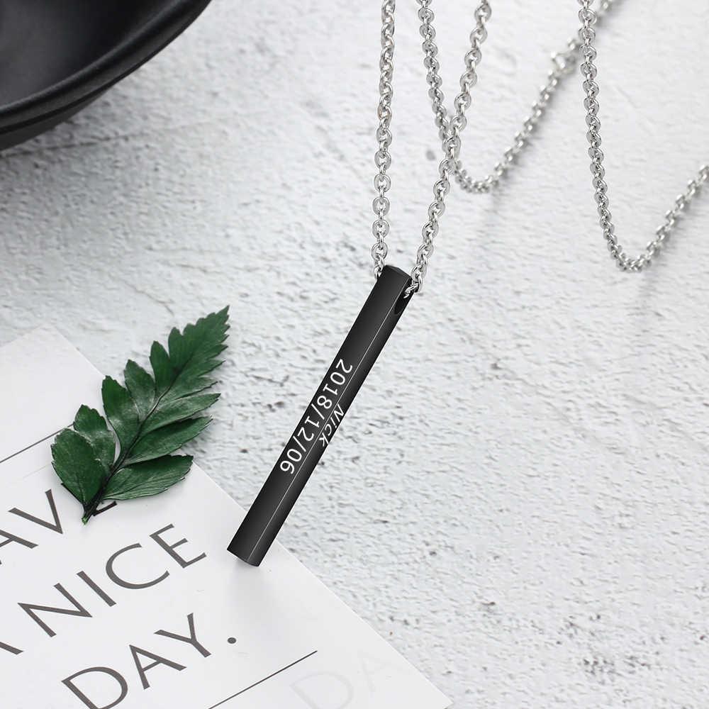 Grawerowany czterostronny długi pasek pionowy naszyjnik dla kobiet mężczyzn czarny spersonalizowany stal nierdzewna naszyjniki personalizowany prezent