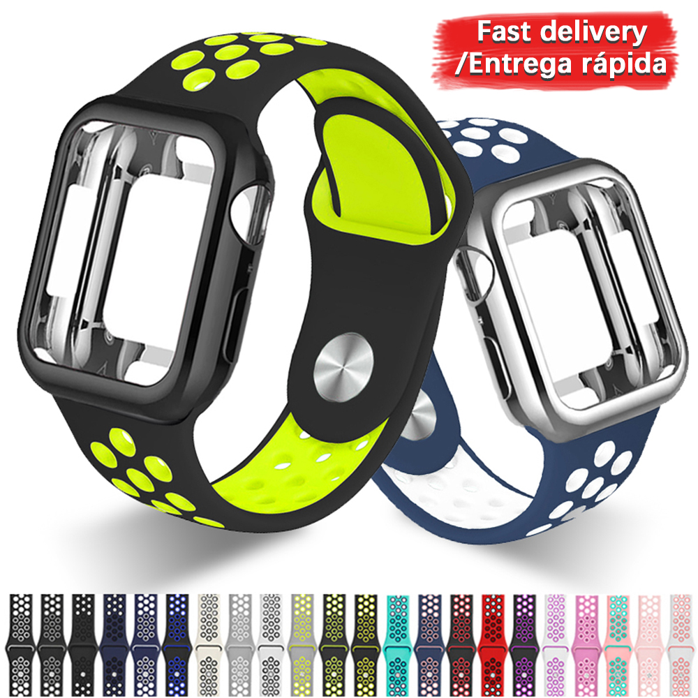 Silicone Sport Strap+Case Apply To Apple Watch 5 4 3 2 1series 38mm 42mm Band For Iwatch 40mm 44mm Bracelet Wrist Accessories