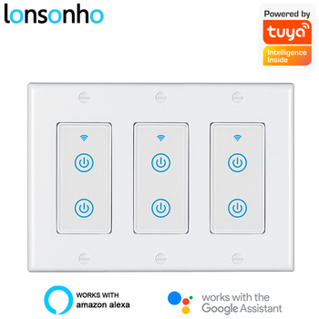 Lonsonho Smartlife Tuya Wifi Smart Switch US 2 4 6 Gang Touch Panel Wireless Remote Control Light Switches Alexa Google Home 100v 240v ac 2 gang 2 way switch rfid wireless 30m remote control touch screen light switch panel 2 wireless receivers