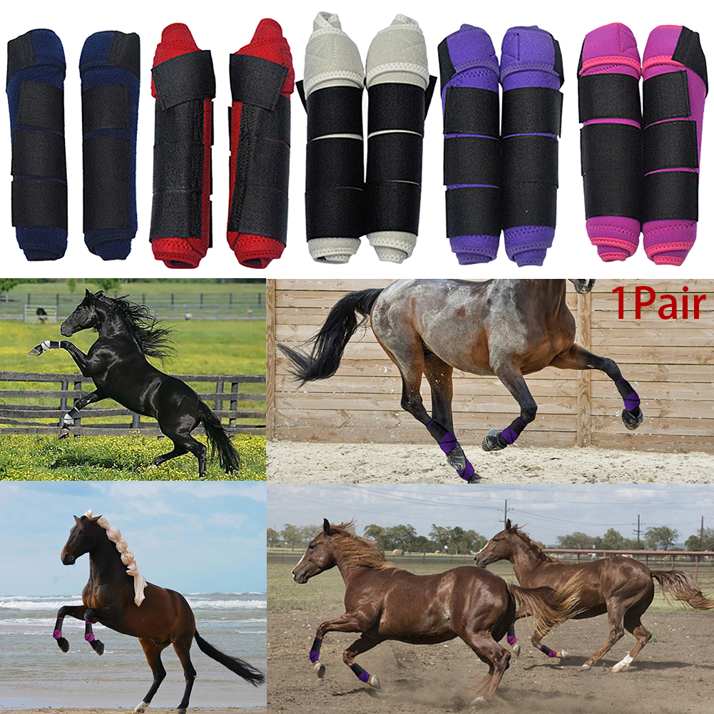 1 Pair Training Adjustable Washable Horse Leg Guards High Elastic Cloth Protective Gear Magic Sticker Outdoor Riding Soft Sports