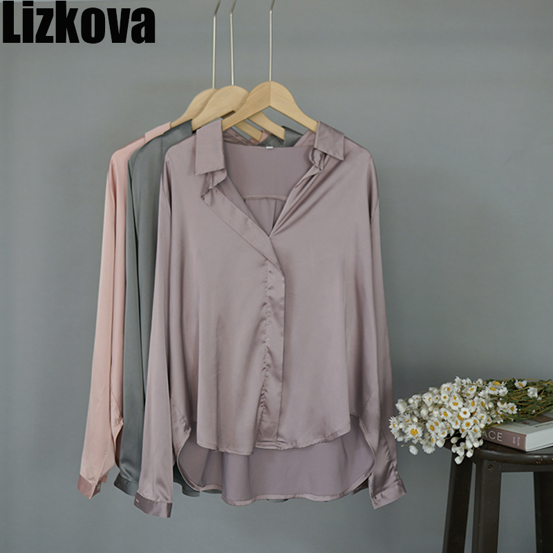 2020 Spring Stain Blouse Women Plus Size Long Sleeve Official Shirt Elegant Purple Oversized Casual Tops