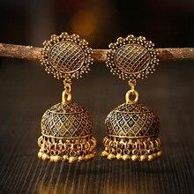 Women's Retro Flower Gold Jhumka Earrings Indian Jewelry 2020 Classic Beads Tassel Ladies Earrings Hangers