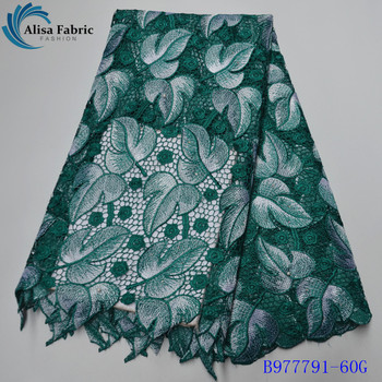 Alisa Nigerian Guipure Lace Fabric High Quality Embroidery Water Soluble Lace Fabrics With Stones For Sewing Clothes B977791-60G