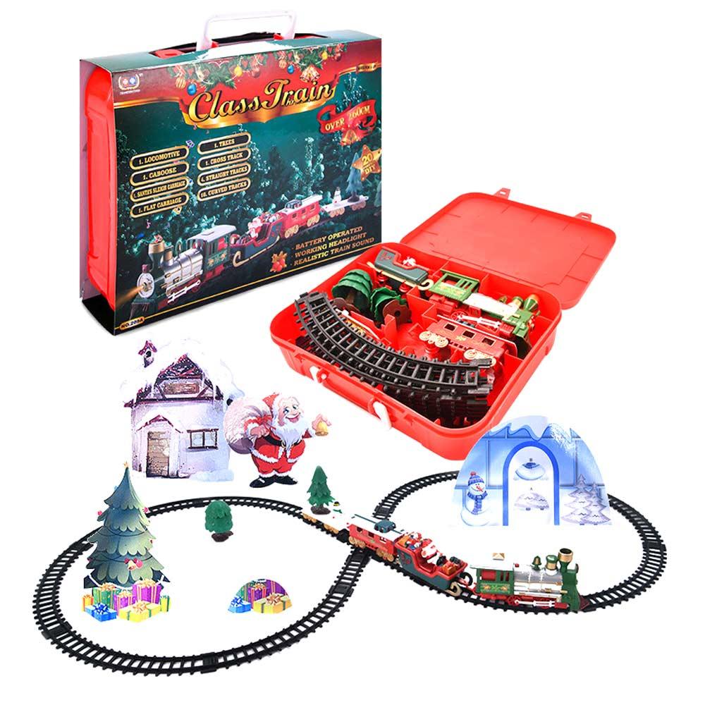 Рождественский электрический вагон игрушечный Паровозик-Конструктор Детская игрушечная Беговая железная дорога набор железнодорожных по...