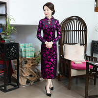 Women's cheongsam elegant print large size slim china dress evening dress Chinese wedding sexy chinese traditional dress qipao