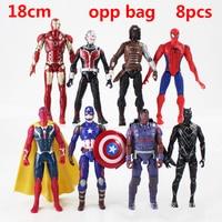 8pcs Marvel Avengers Endgame Thanos Spiderman Iron Man Captain America Thanos Thor Wolverine Action Figure Toys Dolls For Kids
