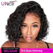 Unice Hair 13x4 court dentelle avant cheveux humains Bob perruques vague deau brésilien Remy cheveux dentelle perruque pré plumé délié