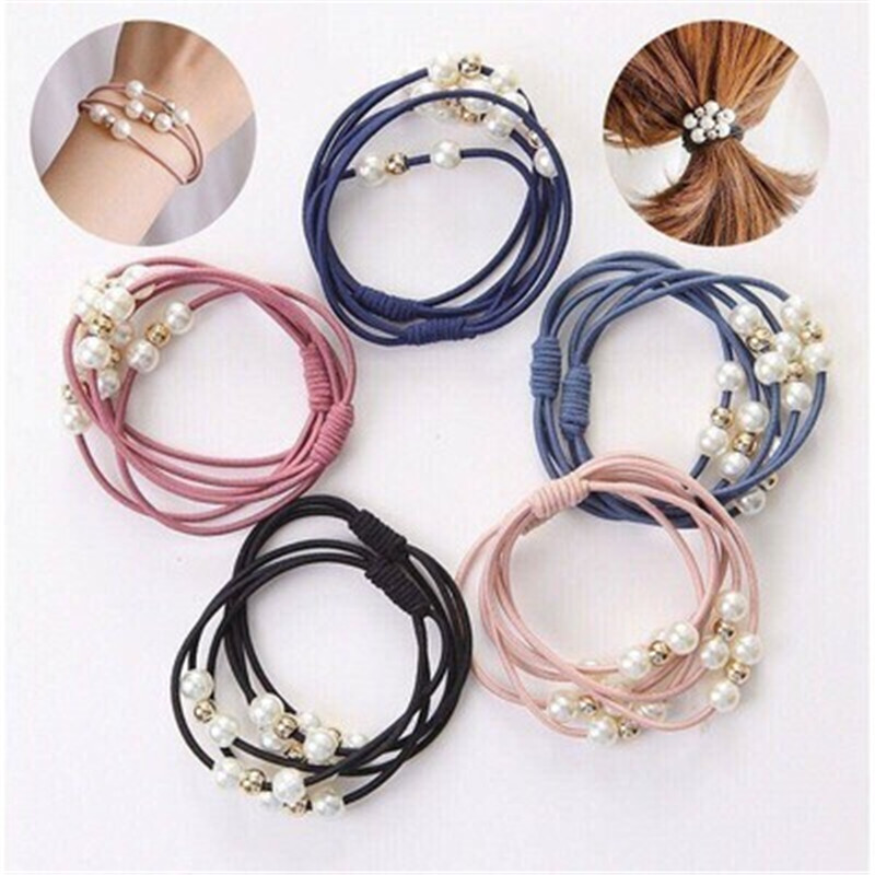 Pearl Beads Hair Rope Multi-Layer Rubber Band Korean Simplicity Hair Ties For Women Girls Elastic Headband Cute Hair Accessories