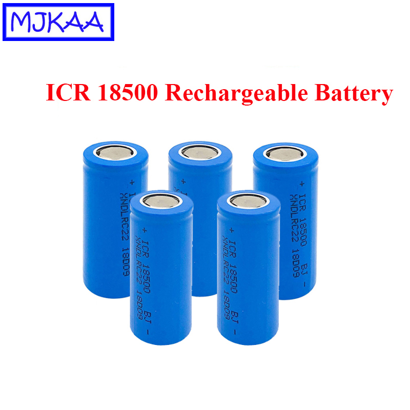 MJKAA 5Pcs <font><b>ICR</b></font> <font><b>18500</b></font> 3.7V Li-ion 1600mAh Rechargeable <font><b>Battery</b></font> High Quality Recarregavel Lithium <font><b>Batteries</b></font> for Flashlight image