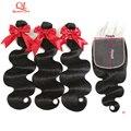 Queenlife 8-30 дюймов 7x7 Кружева Закрытие тела волна 3 пряди с закрытием Remy волосы 100% бразильские человеческие волосы