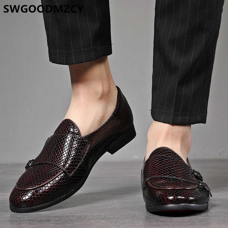 Double moine sangle chaussures hommes classique Coiffeur chaussures formelles hommes marque italienne mocassins chaussures habillées hommes bureau Sepatu sans lacet Pria