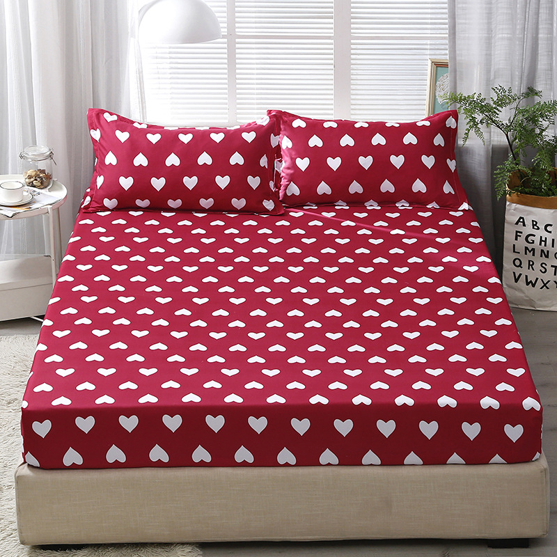 200x220cm Heart-Shape Printed Fitted Sheet 100% Polyester Material High Quality Elastic Band Bed Sheet Pillowcase For Full Size