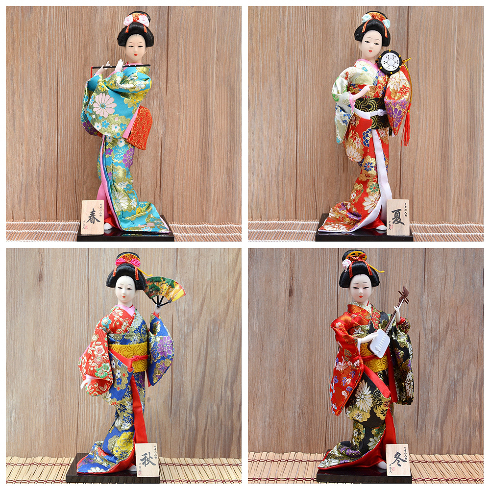 30cm Traditional Japanese Geisha Figurines Statues Japanese Kimonos Dolls Ornaments Home Restaurant Desktop Decoration Gifts