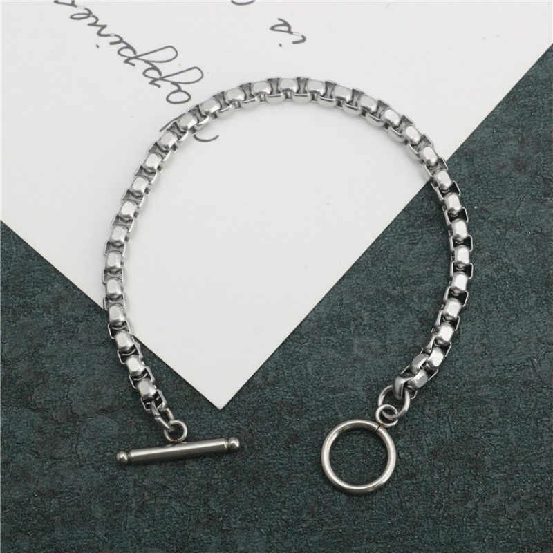 Браслет из нержавеющей стали, 4 мм, цепочка для мужчин и женщин, браслет для пары, OTBuckle, стильный женский браслет, мужской браслет, ювелирный подарок 2019