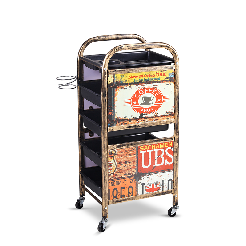Retro Beauty Salon Car Hair Salon Trolley Trolley Barber Shop Beauty Salon Special Hot Dyeing Tool Car Multi-function Bar