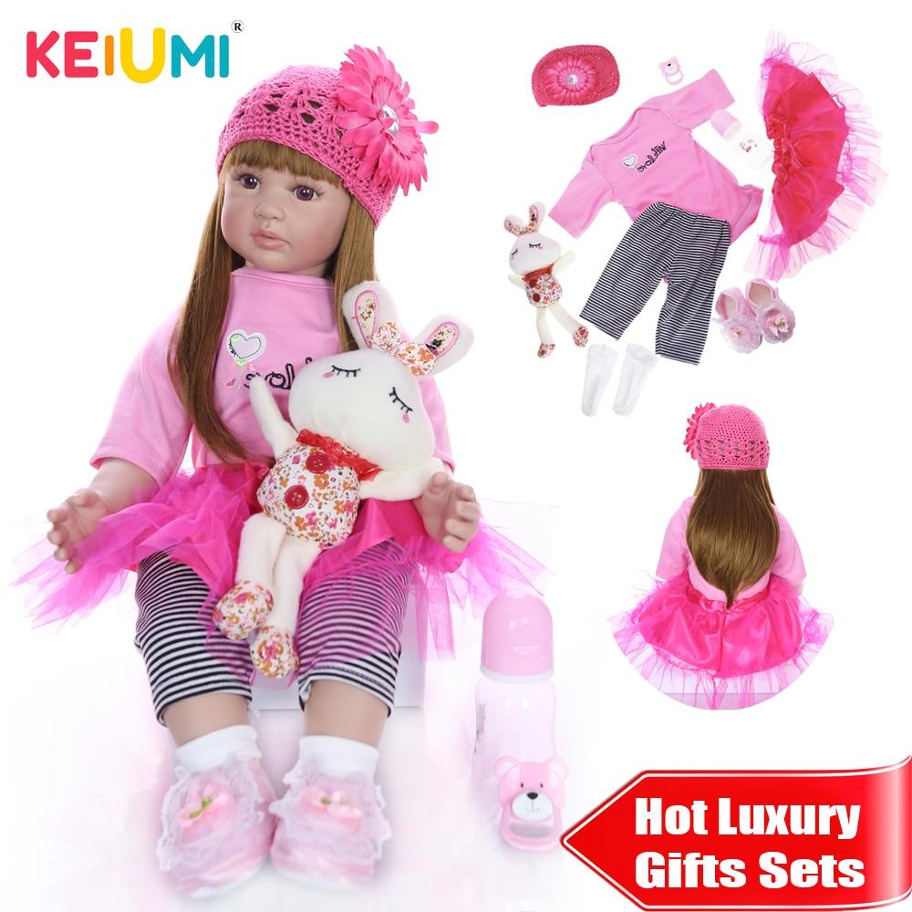 KEIUMI Schöne Reborn Baby Menina 24'' Realistische Prinzessin Weiche Silikon Reborn Baby Puppen 60 cm DIY spielzeug Für kinder Luxus sets Geschenk