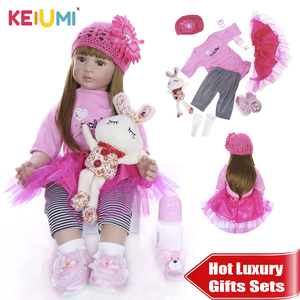 KEIUMI Lovely Reborn Baby Menina 24'' Realistic Princess Soft Silicone Reborn Baby Dolls 60 cm DIY toy For kids Luxury Sets Gift(China)